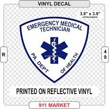 Pennsylvania Emt Reflective Vinyl Decal Pa Doh Emergency Medical Sticker R 49 For Sale Online