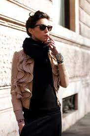 obsession du jour ruffled leather jacket