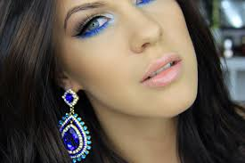 eye makeup with royal blue and gold