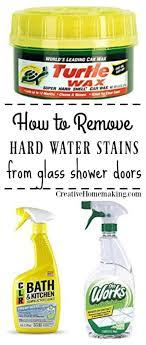hard water deposits on glass shower