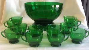 anchor hocking forest green punch bowl