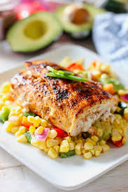 easy grilled mahi with avocado and corn