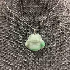 buddha jade pendant 18k white gold