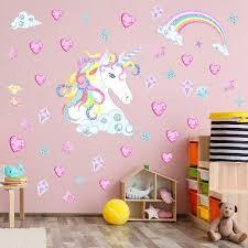 Personalised Unicorn Rainbow Wall Sticker Girls Bedroom Wall Art Nursary Decal