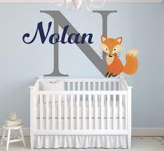Amazon Com Lovely Decals World Llc Fox Nursery Wall Decal Personalized Boys Name Art Sticker Nursery Decor Vinyl Ld48 28 W X 18 H Home Kitchen