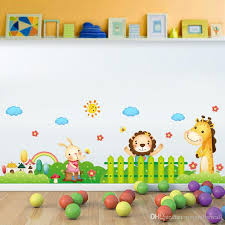 Cartoon Animals Garden Wall Decals Home Decor Cloud Sun Fence Wall Border Wallpaper Poster Kids Boys Girls Room Nursery Wall Graphic Mural Airplane Wall Stickers All Wall Stickers From Magicforwall 5 38 Dhgate Com
