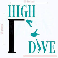 Amazon Com Wall Decor Plus More High Dive Vinyl Lettering Art Wall Decals Stickers Swimming Girls Room Decor Teal Black Home Kitchen