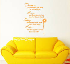 Large Wall Decal Inspirational Quote Live Love Dance Sing Wall Sticker Living Room Decor Sunflower Decal Wall Decal Custom Sticker