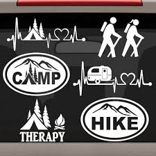 Bluegrass Decals 6 Count Camping Hiking Decal Sticker Set E1077 Tent Heartbeat Camper Hiker Camp