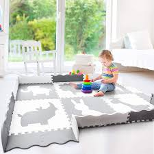 Large Baby Play Mat 5x7 Soft Thick Foam Floor Mat For Infants Toddlers And Kids Non Toxic Crawling Mat Neutral Nursery Or Play Room Mat Gray And White
