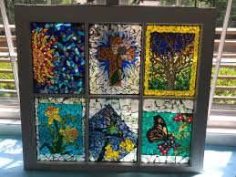 large white 6 pane stained glass mosaic