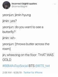 incorrect bighit quotes yeonjun jimin hyung jimin yes yeonjun do