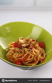 Closeup Plate Seafood Pasta Tomato ...