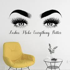 Good Lashes Beauty Salon Quote Wall Stickers Decal Eye Eyelashes Art Girl Room Decals Decor Modern Beauty Shop Vinyl Mural Lc358 Leather Bag