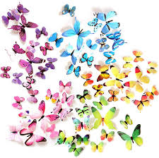 Amazon Com Ewong Butterfly Wall Decals 60pcs 3d Butterflies Home Decor Stickers Removable Mural Decoration For Girls Living Room Kids Bedroom Bathroom Baby Nursery Waterproof Diy Crafts Art 5 Color Home Kitchen