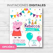 Tarjetas Invitacion Peppa Pig Y George Whatsapp Digitales Bs