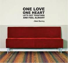 Bob Marley One Love One Heart Decal Quote Sticker Wall Vinyl Art Decor Boop Decals