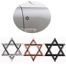 3d Metal Six Pointed Star Star Of David Jewish Star Motorcycle Car Auto Badge Emblem Stickers Decal Car Styling Accessories Home