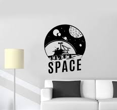 Wall Decal Space Moon Planets Solar System Spacecraft Stars Vinyl Stic Wallstickers4you