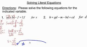 solving literal equations with