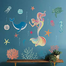 Decalmile Purple Mermaid Wall Decals Girls Bedroom Mermaid Kisses Starfish Wishes Pink Stars Wall Stickers