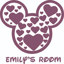 Mickey Mouse Head Hearts Design Customized Wall Art Vinyl Decal Custom Vinyl Wall Art Personalized Name Baby Girls Boys Kids Bedroom Decal Room Wall Art Stickers Decoration Size 8x10