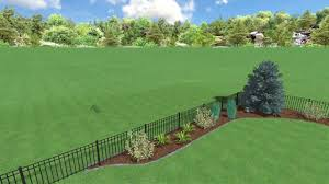 Residential Property Line Landscape With Wall Fence Youtube