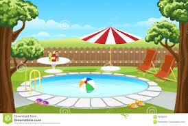 Backyard Pool With Fence And Parasol Stock Vector Illustration Of Background Design 93780237