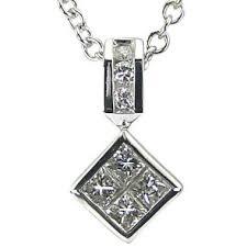 princess cut diamond necklace in 18k