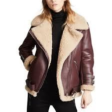 oem women fur collar sheepskin leather