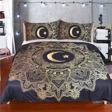 duvet cover black dark blue bedding set