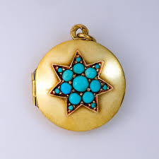 turquoise star gold pendant locket