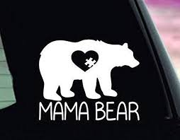 Amazon Com Autism Mama Bear Decal Autism Mom Sticker Autism Bumper Sticker Autism Car Decal Asd Mama Bear Made In Usa Computers Accessories