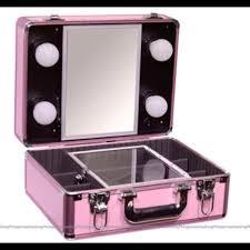 gladking traincase pink makeup box on