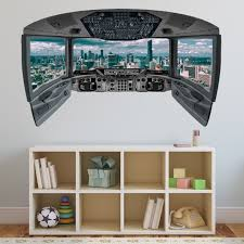 Airplane Cockpit Wall Decal Mural City Mural Wall Decal Cp23