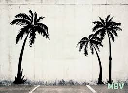 9 Ft Palm Tree 3 Wall Decals Large Palm Tree Wall Art Etsy