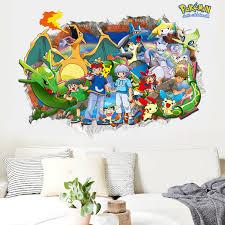 Broken Pokemon Pikachu 3d Wall Decals Sticker Vinyl Mural Kids Room Decor Wall Stickers Aliexpress