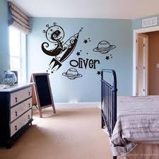 Custom Name Wall Decal For Kids Rooms Dinosaur Rocket Star Wall Stickers Space Animal Astronaut Decals Bedroom Decoration Wall Mural Stickers Wall Murals And Decals From Joystickers 12 66 Dhgate Com
