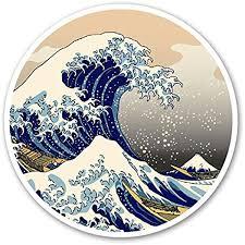 Amazon Com Customi Great Wave Circle Off Kanagawa Decal Sticker For Car Truck Macbook Laptop Air Pro Vinyl Automotive