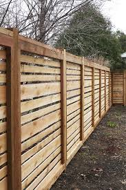 A Very Nice Horizontal Timber Fence With Space Between Boards And Varied Board Sizes Backyard Fences Fence Design Horizontal Fence