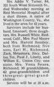 Addie Turner Obit Aug 1973 - Interned Glen Haven - Newspapers.com