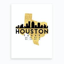 Houston Texas Silhouette City Skyline Map Art Print By Deificus Fy