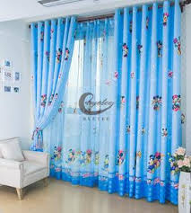 Disney Mickey And Minnie Blue Tulle Window Curtain For Kids Boys Girls
