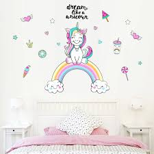 Rainbow Unicorn Ice Cream Lollipop Drink Dessert Love Wall Sticker Kids Room Wall Decals Wall Papar Pvc Wall Stickers Removable Wall Stickers Aliexpress