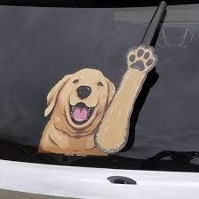 Amazon Com Bailey The Golden Retriever Dog Waving Wipertags With Decal For Rear Vehicle Wipers Automotive