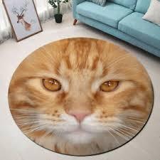 Cute Cat Head Portrait Area Rugs Kids Bedroom Carpet Living Room Round Floor Mat Ebay