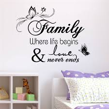 Family Where Life Begins And Love Never Ends Quotes Wall Decals For Living Room Home Decor Art Removable Stickers Vinyl Black Buy At The Price Of 3 58 In Aliexpress Com Imall Com