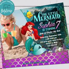 Tarjeta De Invitacion De Cumpleanos De Little Mermaid Ariel Con