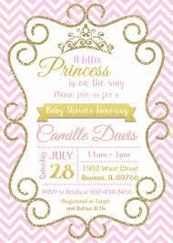 Pink And Gold Princess Baby Shower Invitation Sparkle Chevron