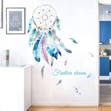 Amazon Com Dream Catcher Wall Decals Colourful Feather Wall Stickers Peel And Stick Removable Art Murals For Bedroom Kids Room Nursery Living Room Office Home Decoration Feather Kitchen Dining